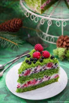 Forest Moss - recipe - I cook because I like Raw Food Recipes, Sweet Recipes, Cake Recipes, Gentilly Cake Recipe, Moss Cake, Spinach Cake, Delicious Desserts, Yummy Food, Fall Cakes
