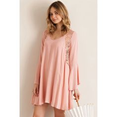 New  Bell Sleeve Mini Bell sleeved mini dress, A line features lace detailing throughout. Lightweight. Blush Dresses Mini