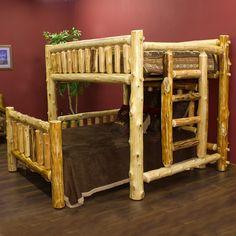 Cedar Lake Cabin Loft Bed Bedroom Package by JHE Log Furniture Place