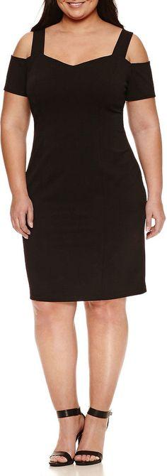 2c5451cba32 Bisou Bisou Short Sleeve Cold Shoulder Knit Sheath Dress-Plus Cold Shoulder