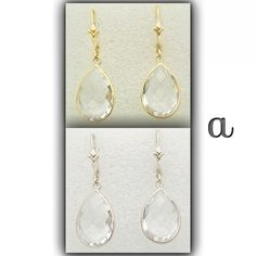 Gemstone Jewelry. Statement size earrings. Authentic white sapphires hand set in rich 14K gold.   http://stores.ebay.com/amazinite