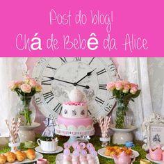 Para as grávidas: lindo Chá de Bebê para meninas no tema Alice no País das Maravilhas. Mais fotos aqui: http://mamaepratica.com.br/2014/11/07/cha-de-bebe-da-alice/ Baby Shower girls