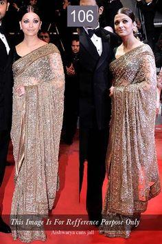 Aishwarya+Rai+Net+Sequins+Work+Golden+Bollywood+Style+Saree+-+106 at Rs 2699