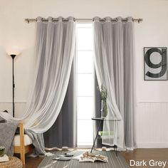 Features: -Set includes 2 blackout curtain panels and 2 white sheer ...