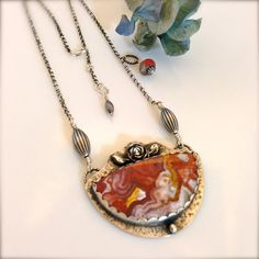 Awesome colorful Crazy Lace Agate and artisan silver necklace with PMC rose accent