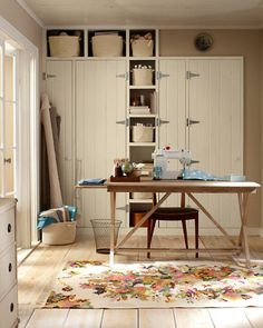 Love this look for my basement storage cabinets - Garnet Hill Spring Catalogue