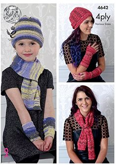 dfaf244a997 King Cole Ladies   Girls 4 Ply Knitting Pattern Lace or Textured Scarf Hat    Wrist Warmers - I Crochet World