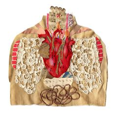 anatomy series heart 1, mixed media heart, collage heart, cabinet of curiosities heart, heart