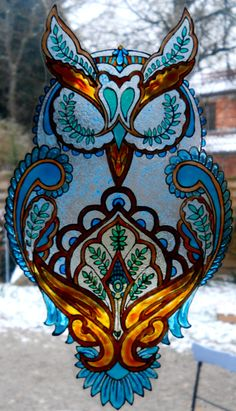 CACHEMIRE OWL  wicoart HANDMADE STAINED GLASS EFFECT WINDOW CLING EASY TO APPLY AND TO REMOVE HAND PAINTED WITH GALLERY GLASS AND GLASS PAINT PEBEO ON AN ELECTROSTATIC VINYL SHEET ONE OF A KIND OOAK