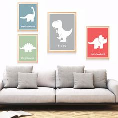 Dinosaur Cartoon Set Canvas Art Print Painting Poster Wall Pictures For Kids Room Home Decorative Bedroom Decor No Frame