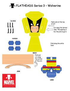 Blog Paper Toy papertoys FlatHeads Wolverine template preview FlatHeads Series 3   Marvel Heroes (x 5)