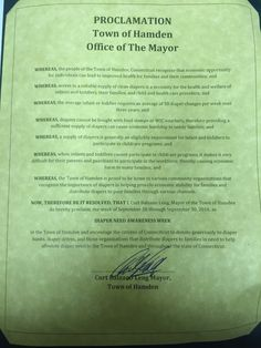 HAMDEN, CT - Mayoral proclamation recognizing Diaper Need Awareness Week (Sep. 26-Oct. 2, 2016) #DiaperNeed Diaperneed.org