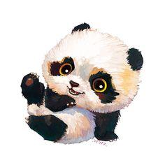 by # # on Behance Cute Panda Drawing, Cute Bear Drawings, Animal Drawings, Panda Wallpapers, Cute Wallpapers, Baby Animals, Cute Animals, Bunny Painting, Cute Panda Wallpaper