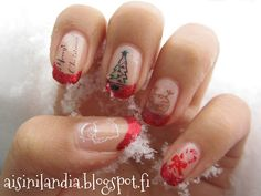 Christmas nails with Konad & French tips