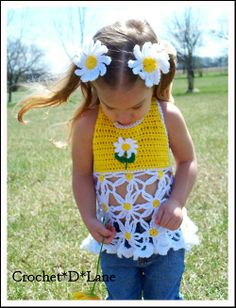 Diva Daisy Crochet Halter - OMGoodness @Heather Creswell Creswell Delp Greenwood - you need to make this for Addy!