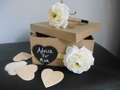Advice for Mom, Baby Book Alternative, Baby Shower Guestbook Alternative, Card Box Yellow and White Chevron/ Rustic Baby