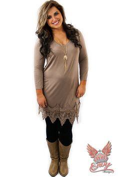 Desire Knit Dress with Lace Trim - Taupe -$36.95 - Every lady knows you have to have a taupe knit dress, it servers so many purposes. Well this fantastic knit dress, from Envy Boutique, with it accenting lace trim is no exception to the rule. Ladies desires a knit dress, and men desire ladies whom wear them.  | available at http://www.envyboutique.us/shop/desire-knit-dress-lace-trim-taupe/ |  #Envy #Boutique #fashion #fashiontrends