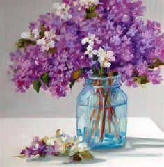 "Daily Paintworks - ""Lilac Magic"" - Original Fine Art for Sale - © Libby Anderson"