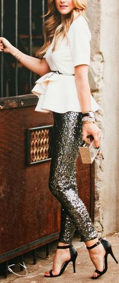 Ruffled Peplum Top & Sequin Pants ❤︎ #street #style