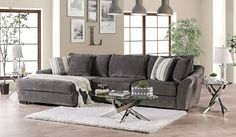 "SM9109 2 pc Canora grey Sigge charcoal gray chenille fabric sectional sofa with chaise. This set features a chenille fabric upholstery with flared arms and pillow backs. Sectional measures 140"" x 75"" L x 45"" D x 37"" H . 28"" seat depth, 22"" seat height. Some assembly may be required."