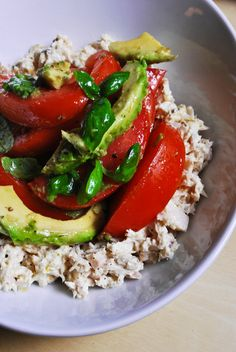 Pescetarian lemon-pepper tuna salad with tomatoes, avocados and basil. (Use plain vegan or Greek yogurt with lemon in place of  mayonnaise.)