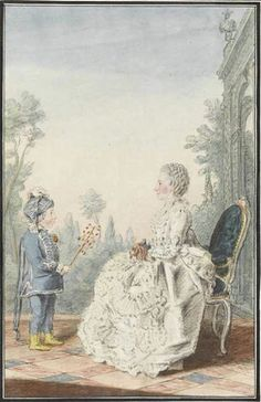 Mme de La Haye and her son, 1760 by Louis Caroggis Carmontelle (1717-1806)