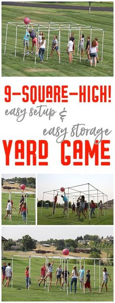 9 Square High Outdoor Party Yard Game and Game Rules - Easy setup and easy storage and SO FUN! Have you played 9-square-high! yet? There's nothing better than seeing a bunch of family, friends, young, old, tall and small play this fun game. Once they start playing, they can't stop! via 9SquareByDJ #9square #9squarehigh #backyardgames #diyoutdoorgames #barbecuegames #barbecueideas #backyardpartygames #partygames #outdoorgames #diygames #yardgames #diyyardgames #summergames #summerparty #party…