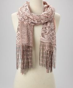 Another great find on #zulily! Dusty Pink Floral Fringe Scarf by Italmode #zulilyfinds