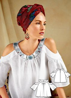 Embroidered Cold Shoulder Blouse Burda Mar 2017 #116A http://www.burdastyle.com/pattern_store/patterns/embroidered-cold-shoulder-blouse-032017