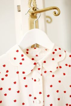 Ladybug printed blouse with scalloped peter pan collar
