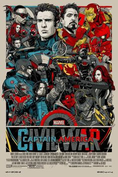 "Captain America: Civil War by Tyler Stout 24""x36"" Screen Print, Edition of 750 Printed by D&L Screenprinting $65"