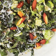 Kale and Brussels Sprout Salad - just get regular kale and sub shallots with onions. who buys pecorino cheese? Just use Parmesan.