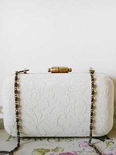 Ivory Floral Box Clutch www.goo.gl/x0eRBR #clutchmehoney #clutch #weddingaccessories #weddingpurse #clutchpurse #bridalfashion #bridalstyle #bride #wedding #bridalfashion #engaged #style #weddingideas #weddingclutchbag #bridesmaidsclutch #bridalclutch #bridalfashion #luxurywedding