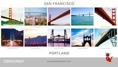 Bridge showdown: Portland vs. San Francisco Portland, San Francisco, Golden Gate Bridge, Creative Photography, Original Image, The Originals, Travel, Viajes, Destinations