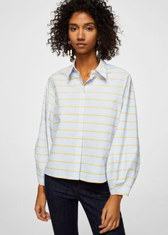 Cotton fabric Pinstripe print Striped structure Oversize design Classic collar Long puffed sleeves Button fastening on the front section Adriano Goldschmied, Kids Fashion, Casual, Model, How To Wear, Shirts, Outfits, Clothes, Style