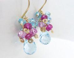 Swiss blue topaz earrings, blue gold cluster earrings, gold pink blue earrings, swiss blue topaz jewelry