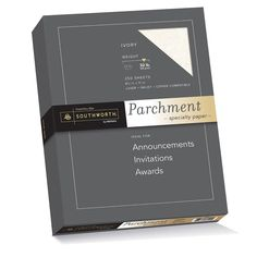 Southworth Parchment Specialty Paper, 8.5 x 11 inches, 32.lb, Ivory, 250 per Box (J988C)