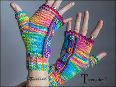 """RESERVEES Mitaines Tricotcolor tricotées main en pure laine dégradée """" Multico-Peps """" : Mitaines, gants par tricotcolor"""