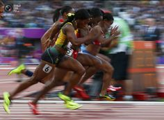 Day 8 - Jamaica's Shelly-Ann Fraser-Pryce races during her women's 100m semi-finals at the London 2012 Olympic Games at the Olympic Stadium. EDDIE KEOGH/REUTERS