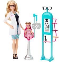 Explore new careers in depth with the Barbie Careers complete play sets. The Barbie Careers Eye Doctor set brings everything info focus with a special examination chair and eye chart. She wears a pretty floral dress with pink sneakers for a trendy look. Barbie Dolls For Sale, Mattel Barbie, Barbie Party, Eye Doctor, Optometry, Barbie World, In Kindergarten, Doll Accessories, American Girl