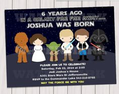 Star Wars Birthday Invitation Star Wars Luke by KawaiiKidsDesign