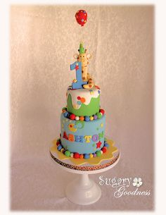 Giraffe 1st Birthday Cake