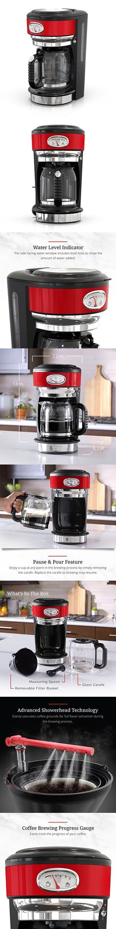 Russell Hobbs Retro Style 8-Cup Coffeemaker, Red & Stainless Steel, CM3100RDR Coffee Machines, Coffeemaker, Hobbs, Retro Style, Retro Fashion, Stainless Steel, Red, Retro Styles, Coffee Pod Machines