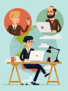 RLI-Remote-Team Flat Design Illustration, Business Illustration, Work Lamp, Planet Vector, Office Table, Vector Art, Coffee Mugs, Concept, Frame