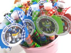 Transformer RescueBots Birthday Party Favors (20) - personalized Heatwave Chase Boulder Blades. $36.00, via Etsy.