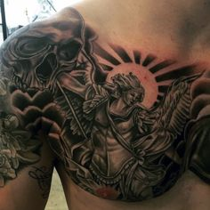 Chest Saint Micheal Archangel Tattoo For Guys