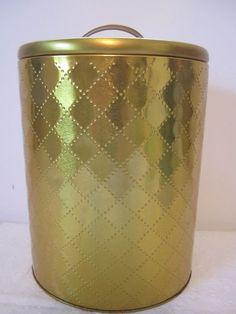 Gold Tin Oval Vanity Trash Can Diamond Holywood Regency Art Deco Style Storage