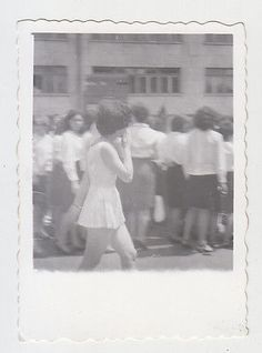 Young Lady Woman Short Skirt Walk on Street Unfocused Vintage Real Photo