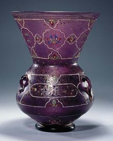 A MAMLUK-STYLE ENAMELLED & GILDED MANGANESE GLASS MOSQUE LAMP Probably France, second half 19th Century