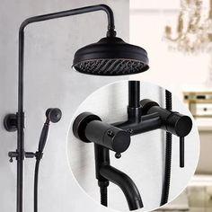 Antique Shower Tap Black Bronze Brass Bathroom Shower Set TFB560